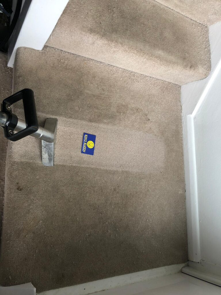 Cleaning A Dirty Stair Carpet SHowing A Clean Streak